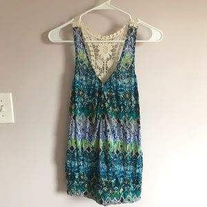 Buttoned tribal print racerback tank with lace